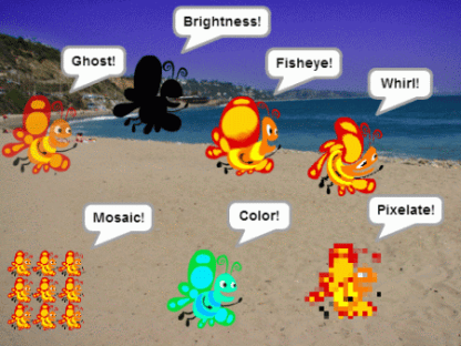 Screenshot showing graphic effects from the sprite explosion demo
