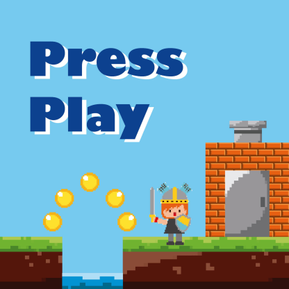 album cover for Press Play, showing a retro platform game