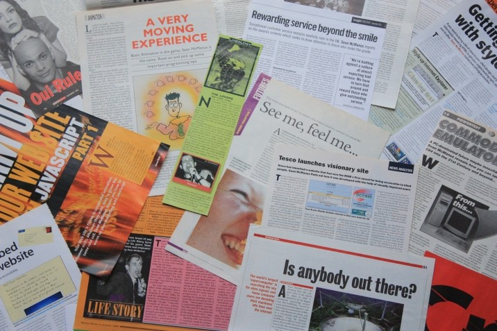 Collage of cuttings of Sean's magazine articles